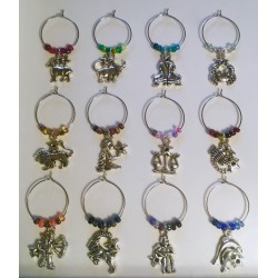 Natal Star Zodiac Character Wine Glass Charms