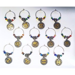 Natal Star Zodiac Glyph/Image Wine Glass Charms