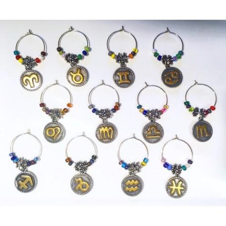 Natal Star Zodiac Glyph/Image Wine Glass Charms